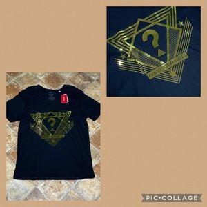 Guess Black T-Shirt Gold Metallic Raised Logo L
